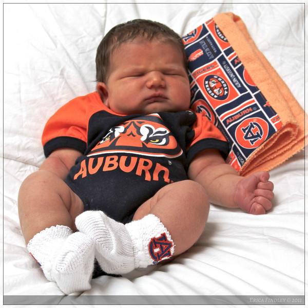 War Eagle! Getting all dressed up for his first Auburn football game (on the TV this time).