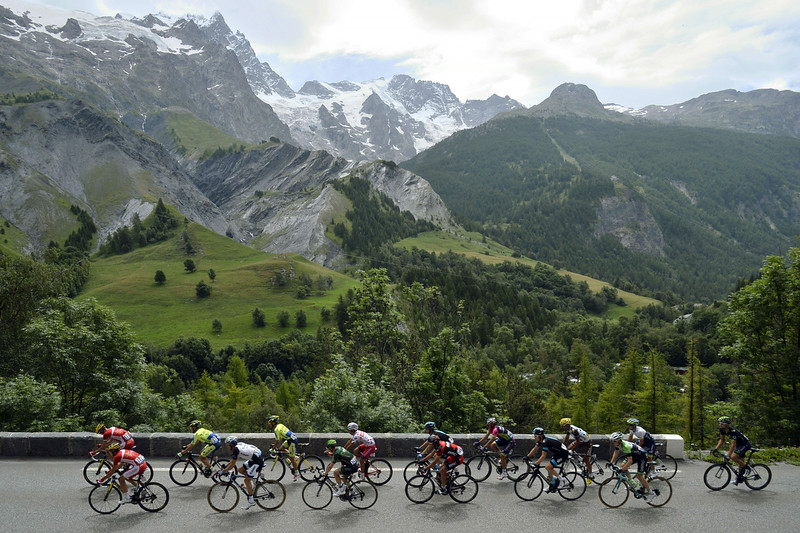. Cyclists ride in a breakaway during the 177 km fourteenth stage of the 101st edition of the Tour de France cycling race on July 19, 2014 between Grenoble and Risoul, central eastern France. (LIONEL BONAVENTURE/AFP/Getty Images)