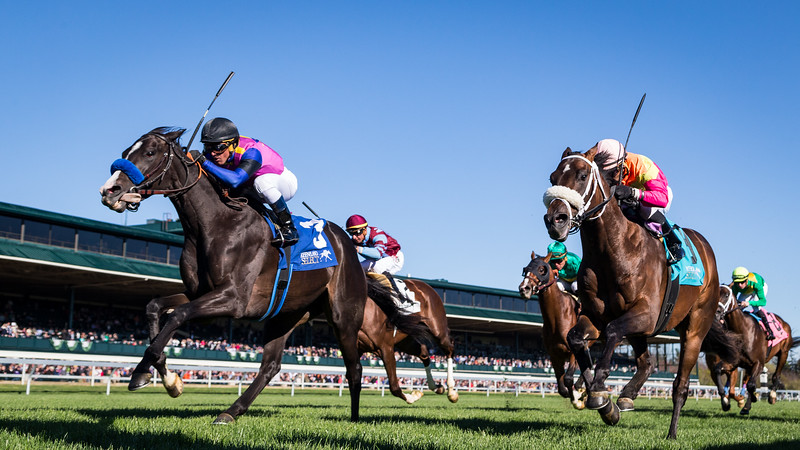 Big Score (Mr. Big) wins the Transylvania (G3) at Keeneland on 4.7.2017. Javier Castellano up, Tim Yakteen trainer, George Krikorian owner.