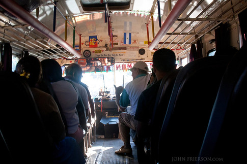Inside typical Nicaragua local bus