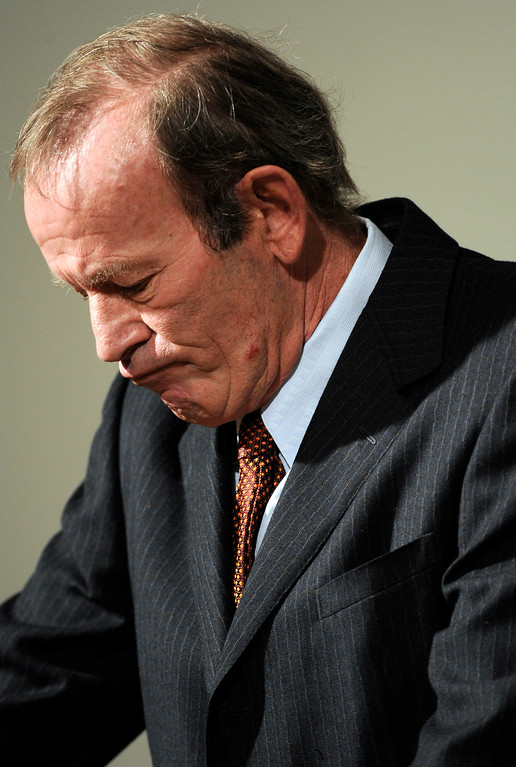 . Denver Broncos owner Pat Bowlen holds a press conference at Bronco\'s headquarters at Dove Valley in Centennial to further discuss the firing of head coach, Mike Shanahan in 2008. Kathryn Scott Osler, The Denver Post