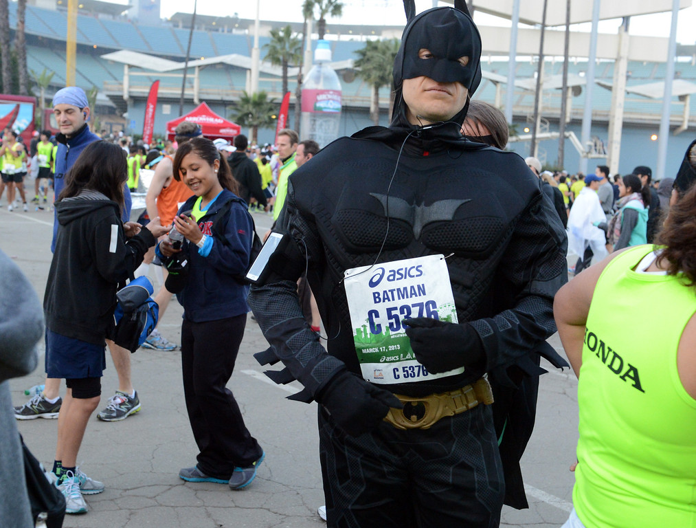 . Runners wait for the start of the L.A. Marathon at Dodgers Stadium in Los Angeles March 17, 2013. (Thomas R. Cordova/Staff Photographer)