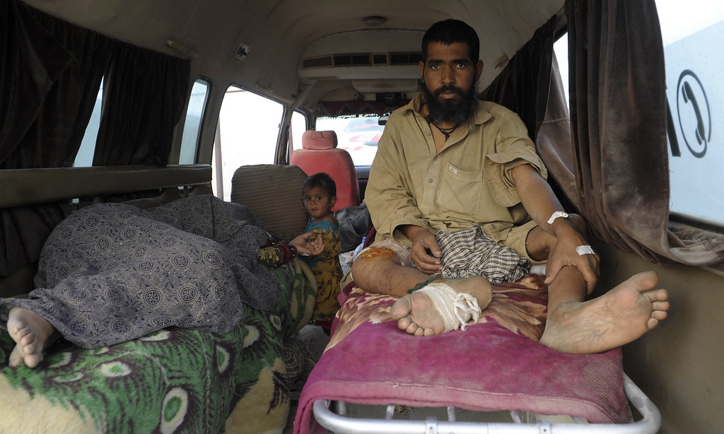. Injured Pakistani earthquake survivors wait in an ambulance before shifting to a hospital in the devastated district of Awaran on September 28, 2013. A powerful 6.8-magnitude earthquake hit southwest Pakistan, killing at least 22 people in a region already devastated by a tremor which left more than 300 people dead this week, local officials said. BANARAS KHAN/AFP/Getty Images