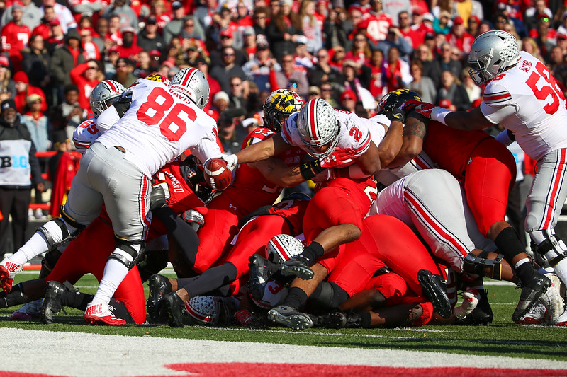 Ohio State RB #2 J.K. Dobbins stretches across the goal line for an Ohio State touchdown