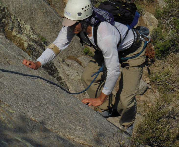 "Jerry - ""Hands?  We don't need no stinkin' hands...""  Good form on the crux of P1."