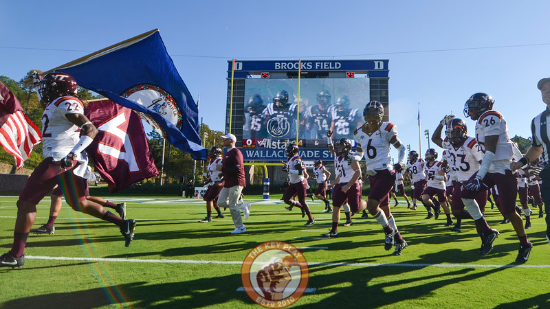 Members of the Virginia Tech Hokies take the field at Wallace Wade Stadium. (Michael Shroyer/TheKeyPlay.com)