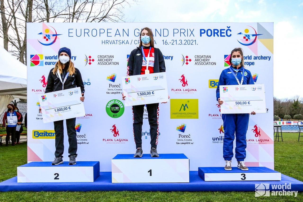 The compound women's podium at the European Grand Prix in Porec in 2021.