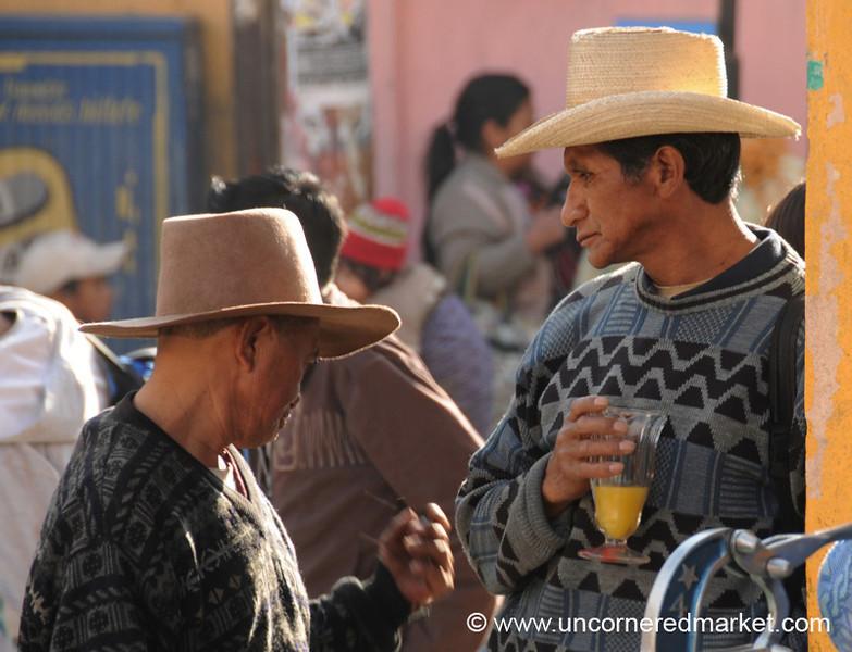 San Francisco El Alto Market, Men With Morning Drink - San Francisco El Alto, Guatemala