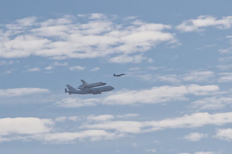 Shuttle Endeavour flyover; over Lake Chabot.