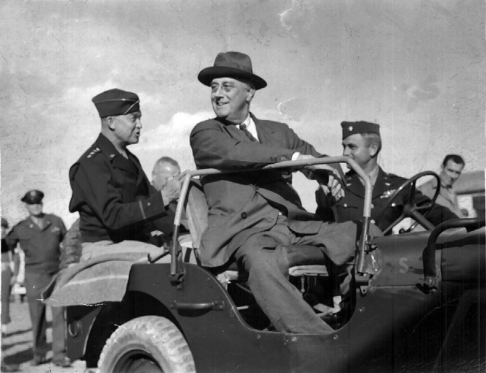. Writes WAYNE NELSON of Forest Lake: �My father took this picture around 1943 while stationed in Castelvetrano, Sicily, with the Army Air Force. As you can see, that�s President Roosevelt in the front seat of the Jeep and Gen. Eisenhower sitting in the back seat. I believe the driver to be a Col. Stiles, as my father noted on the back. Behind Eisenhower, in the background to the left, is Gen. Henry �Hap� Arnold.