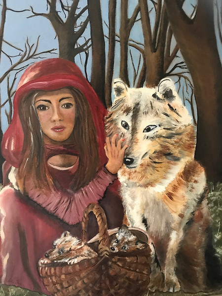 Girl with Wolf Dog