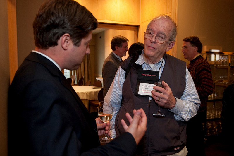 FiReStar Reception: Nathan McDonald (L), VP of Investor Relations, The University Funds; and Roger Payne, Founder and President, Ocean Alliance