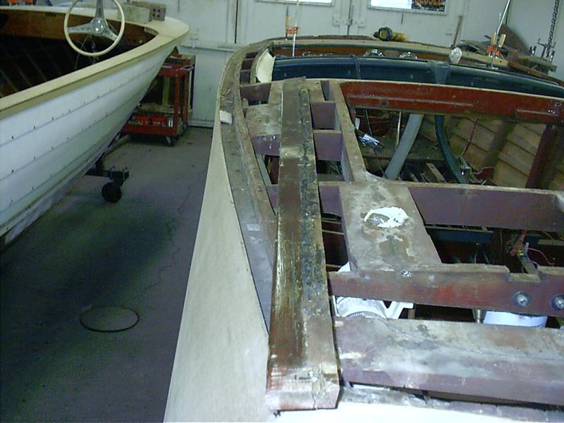 Old starboard inside gunnel removed.