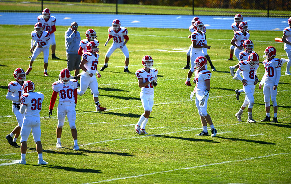 10/19/2019 Mike Orazzi | StaffrBerlin football while at Lewis Mills in Burlington on Saturday.
