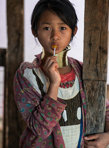 A young girl from the Kayan tribe.  Kayah State, Myanmar,2017