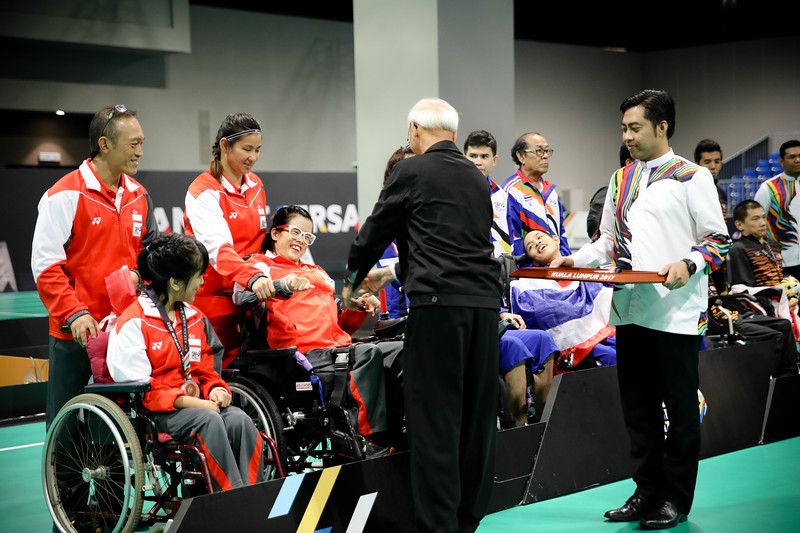 PARA BOCCIA - Boccia Pair BC3 - TeamSG Toh Sze Ning with competition partner Chew Zi Qun Faye Lim with competition  partner Mr Lim with the Silver medal at Hall 6, Mitec on 22nd Sep 2017. (Photo by Sanketa Anand)