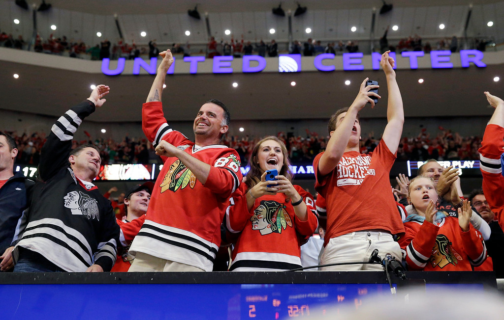 . Fans cheer as after Chicago Blackhawks center Michal Handzus scores a game winning goal during the second overtime period in Game 5 of the Western Conference finals in the NHL hockey Stanley Cup playoffs against the Los Angeles Kings, Wednesday, May 28, 2014, in Chicago. The Blackhawks won 5-4 in the second overtime. (AP Photo/Nam Y. Huh)