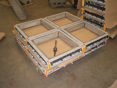 four rectangular fabric expansion joints ready for shipping