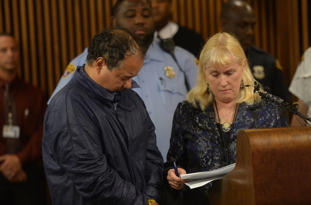 Description of . Ariel Castro is arraigned at Cleveland Municipal Court for the kidnapping of three women May 9, 2013 in Cleveland, Ohio, with County Public defender Kathleen DeMetz (R).   Unemployed American bus driver Ariel Castro appeared in court Thursday to faces charges that he kidnapped and raped three young women and held them in his home for a decade.The 52-year-old from Cleveland, Ohio did not enter a plea and stood with his head bowed while the court set a large bond of two million dollars per case, effectively ensuring that he will remain in detention.  EMMANUEL DUNAND/AFP/Getty Images