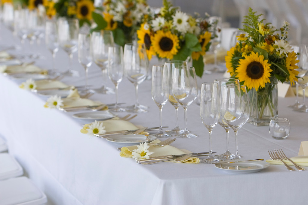 Sunflower table setting at a Cape Cod wedding. - Home - The Casual Gourmet, Cape Cod Wedding Caterer