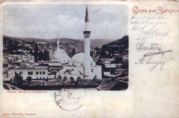 Ferhadija dzamija,Gazi Husrev-begova dzamija sa Sahat kulom i okolne zgrade 1898.godine.x.jpg