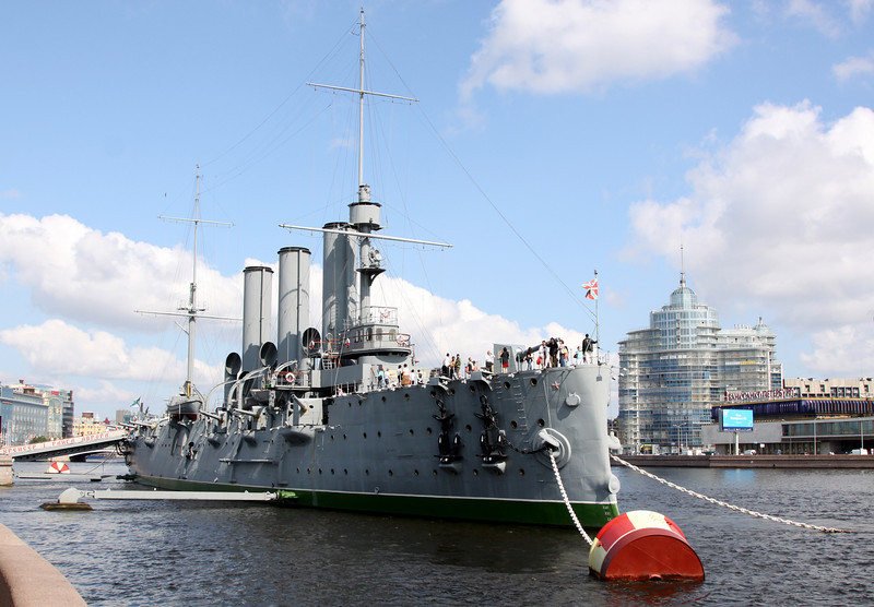 Russian Cruiser Aurora, built in 1900.  It was from this ship that the shot marking the start of the October Revolution (1917?) was fired.  This ship is now considered a national monument, and is so hallowed that during WWII the Russians sank it to protect it from German bombs.