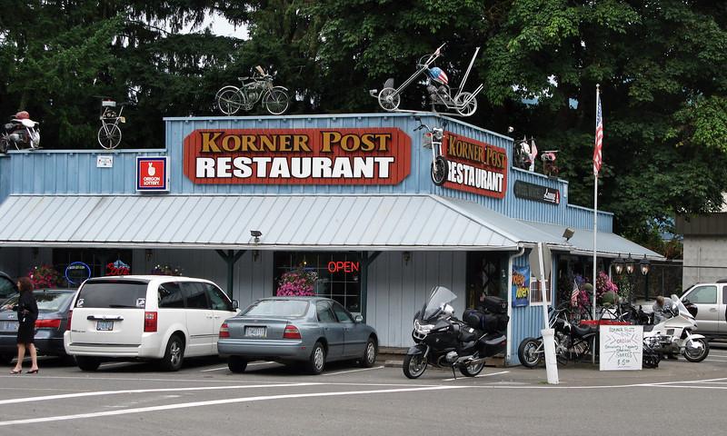 """A """"biker-friendly"""" spot near where we gas up."""