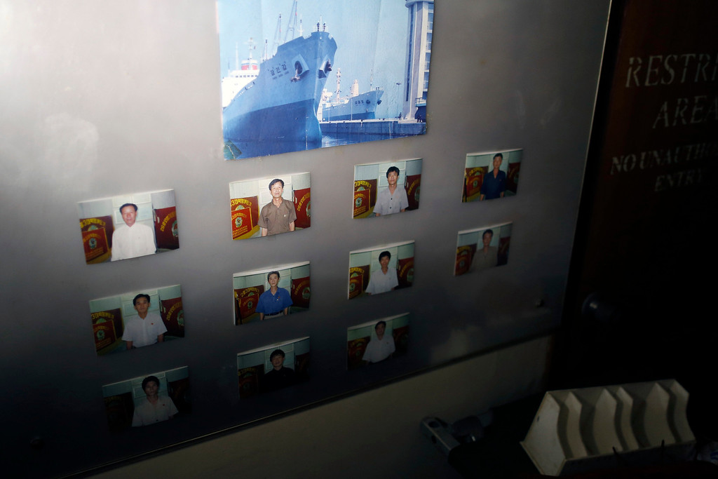". Portraits of crew are seen in one of the rooms inside a North Korean flagged ship ""Chong Chon Gang\"" docked at the Manzanillo Container Terminal in Colon City July 16, 2013. REUTERS/Carlos Jasso"