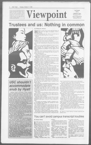 Daily Trojan, Vol. 110, No. 30, October 17, 1989