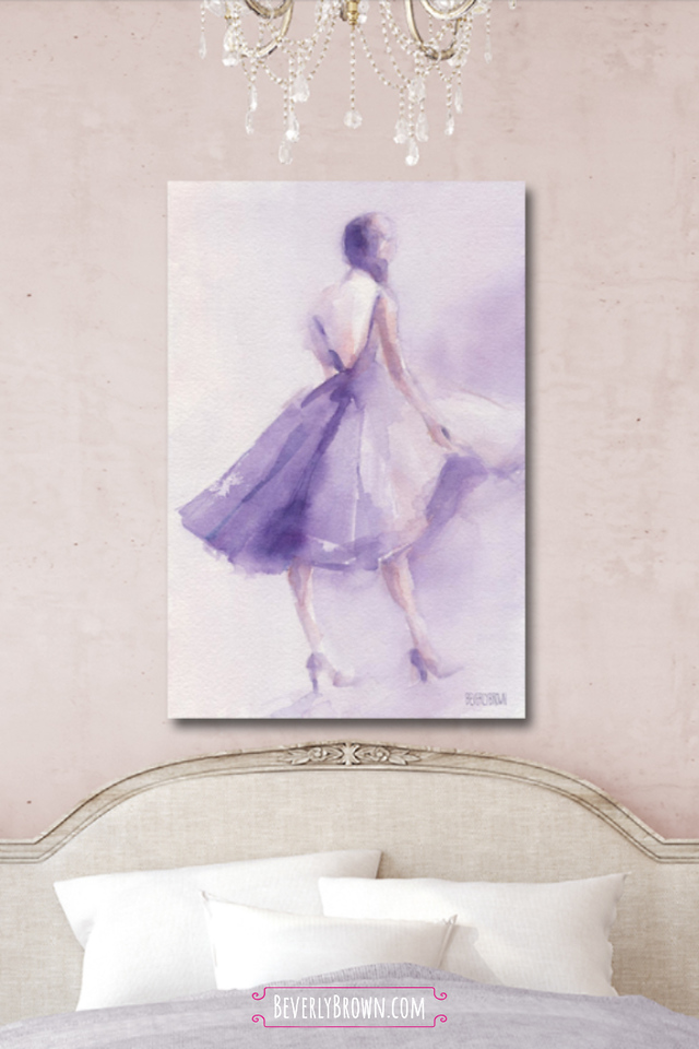 Blush Pink Feminine Bedroom with Lavender Light Purple Artwork