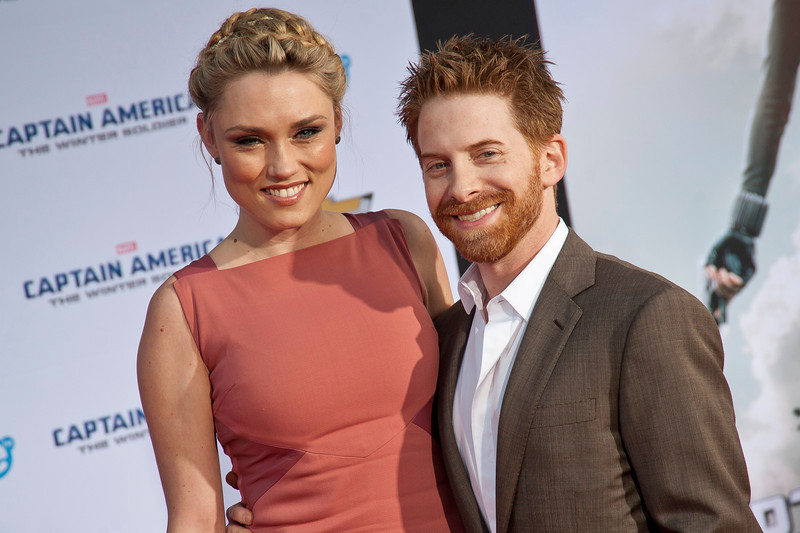 HOLLYWOOD, CA - MARCH 13: Actors Seth Green (R) and Clare Grant arrive at Marvel's 'Captain America: The Winter Soldier' premiere at the El Capitan Theatre onThursday,  March 13, 2014 in Hollywood, California. (Photo by Tom Sorensen/Moovieboy Pictures)