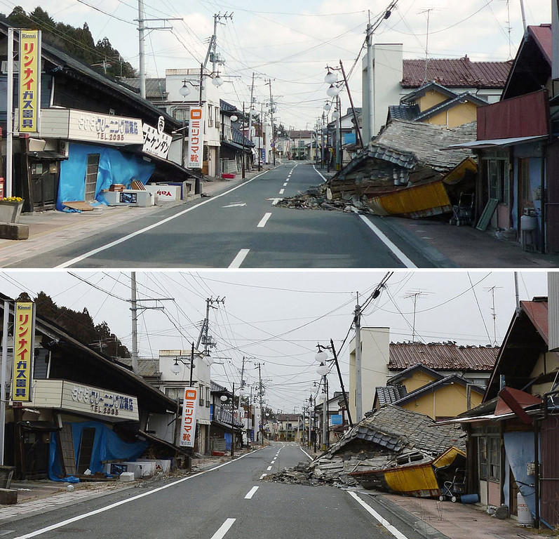 . This combination photo taken April 12, 2011 and distributed by Nagatoshi Shimoeda, top, and taken Friday, March 1, 2013, by Kyodo News, shows a street in Futaba in the exclusion zone around the tsunami-ravaged Fukushima Dai-ichi nuclear power plant in Fukushima prefecture. It has been two years since the March 11, 2011 earthquake and tsunami in Japan which devastated the northeastern Pacific coast of the country. The meltdowns at the power plant have caused the plant to release radiation into the surrounding air, soil and ocean and displaced about 160,000 people from around the plant. They are uncertain when or if they will be able to return home. (AP Photo/Kyodo News)