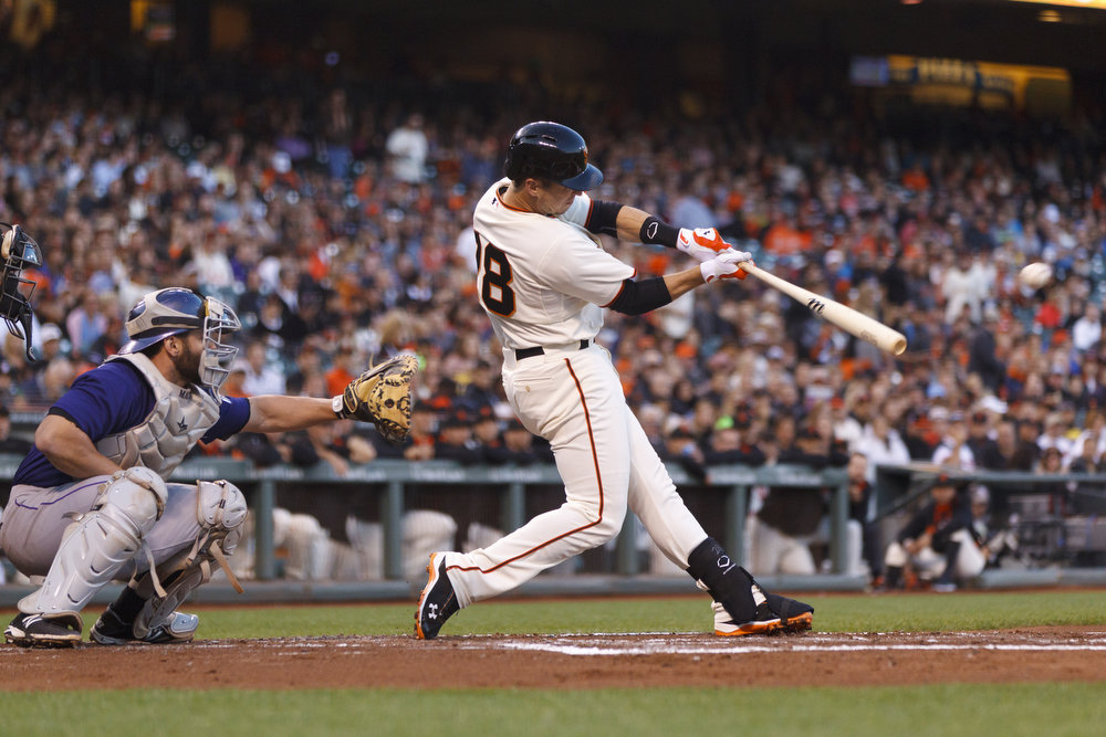 . Buster Posey #28 of the San Francisco Giants hits an RBI single against the Colorado Rockies during the first inning at AT&T Park on August 25, 2014 in San Francisco, California.  (Photo by Jason O. Watson/Getty Images)