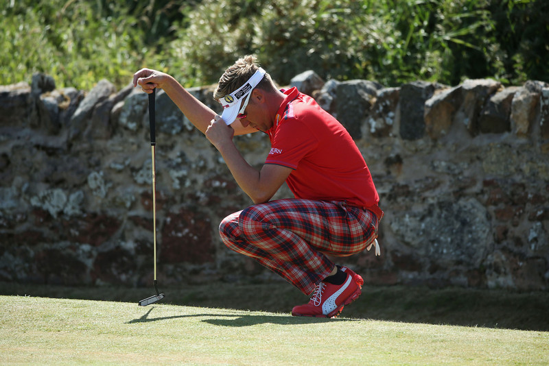 . Ian Poulter of England reacts from the second green during the second round of the 142nd Open Championship at Muirfield on July 19, 2013 in Gullane, Scotland.  (Photo by Andrew Redington/Getty Images)