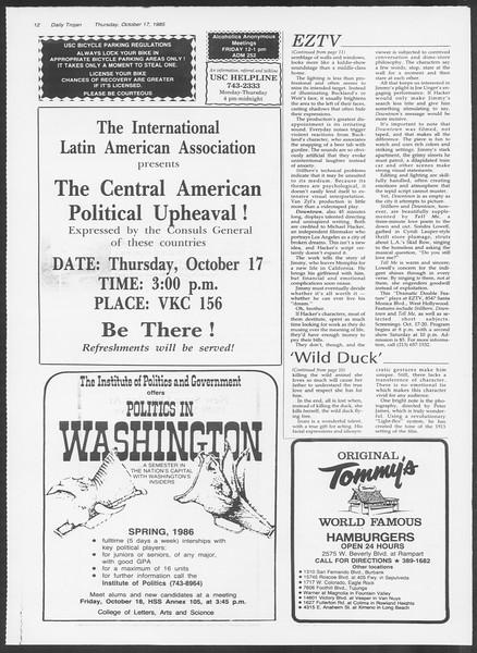 Daily Trojan, Vol. 100, No. 33, October 17, 1985