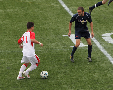 POUGHKEEPSIE, NY - SEPTEMBER 26: Marist Mens Soccer verses La Salle at Marist College on September 26, 2010 in Poughkeepsie New York.  Marist's #11 Lusas Szabo on attack. Photo by Sandy Tambone
