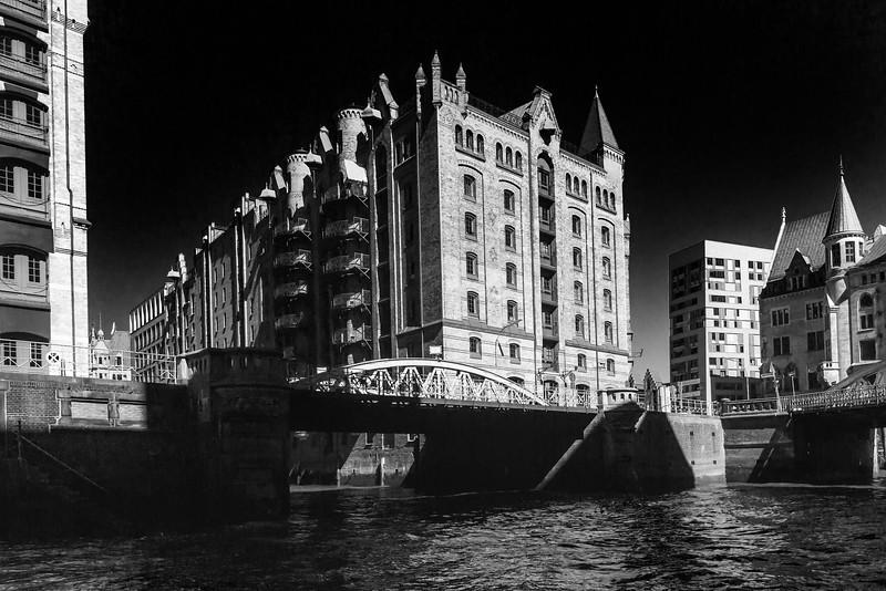 Speicherstadt Hamburg in Schwarzweiß