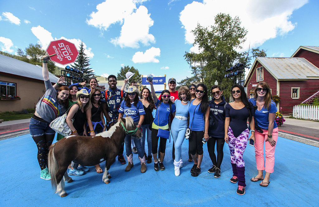 . Joanna Rohrback leads guests in a unique morning Prancersize workout at Bud Light\'s Whatever, USA  on September 6, 2014 in Crested Butte, Colorado. (Photo by Jason Bahr/Getty Images for Bud Light)