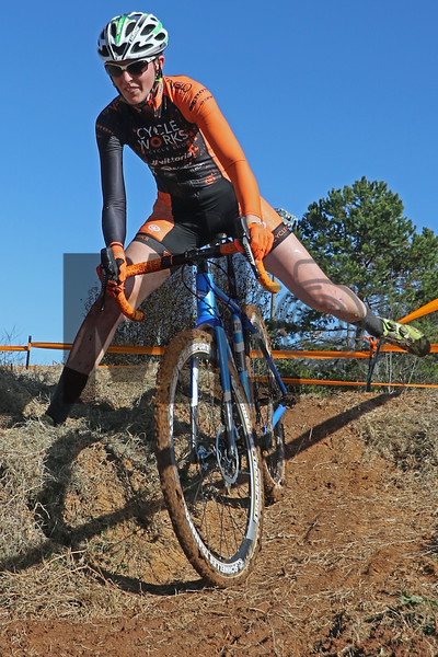 Philicia Marion (160) competes in NC Cyclo-Cross Race #9 at Renaissance Park in Charlotte, North Carolina, on Sunday, November 17, 2019