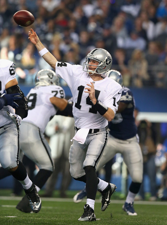 . Matt McGloin #14 of the Oakland Raiders throws the ball against the Dallas Cowboys at AT&T Stadium on November 28, 2013 in Arlington, Texas.  (Photo by Ronald Martinez/Getty Images)