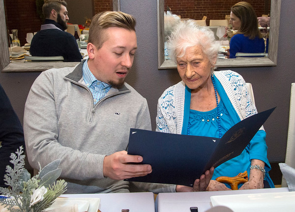 01/10/20 Wesley Bunnell | StaffrrAnne Durant , who turned 100 on January 2nd, celebrated her 100th birthday with a party at Belvedere Restaurant on Friday evening with special guests State Senator Gennaro Bizzarro and Lt. Gov. Susan Bysiewicz. From the Heart Homecare's David Karwoski looks over the proclamation with Durant.