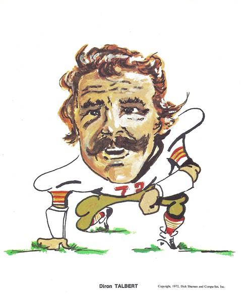 1972 Compu-Set Redskins Diron Talbert