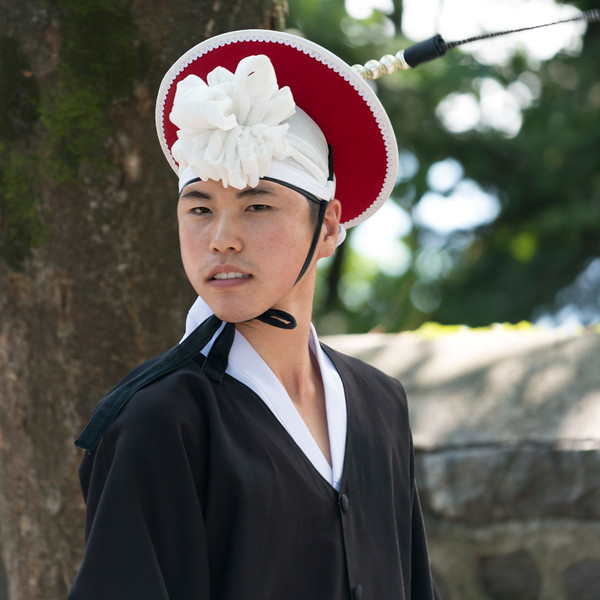 Close-up of a man in traditional Korean costume, Namsan Park, Namsan Mountain, Seoul, South Korea