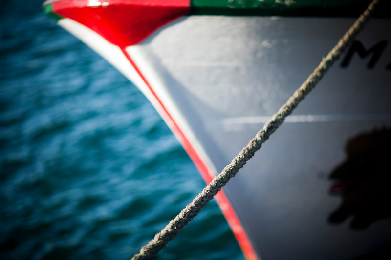 Detail of a boat bow, town of Sagres, municipality of Vila do Bispo, district of Faro, region of Algarve, southwestern Portugal