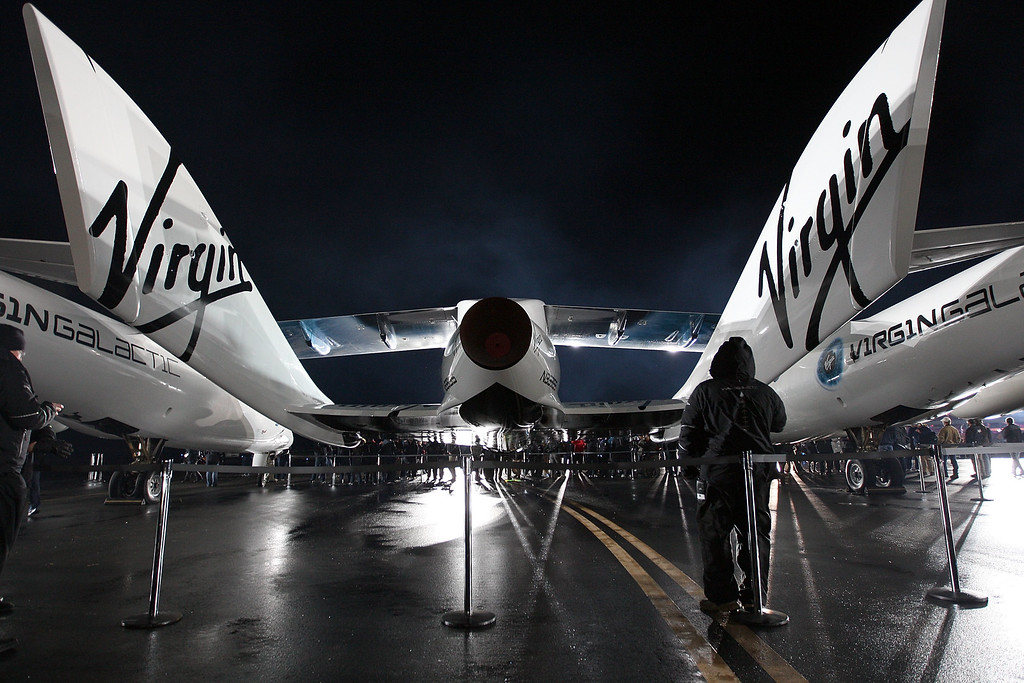 . Virgin Galactic unveils its new SpaceShipTwo spacecraft at the Mojave Spaceport on December 7, 2009 near Mojave, California.   (Photo by David McNew/Getty Images)