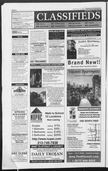 Daily Trojan, Vol. 160, No. 32, February 27, 2007