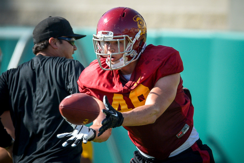 . USC�s Robby Kolanz pulls a pass during spring practice at USC Tuesday, April 15, 2014.  (Photo by David Crane/Los Angeles Daily News.)