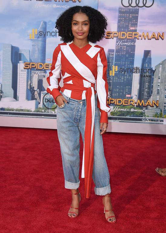 """. Yara Shahidi arrives at the Los Angeles premiere of \""""Spider-Man: Homecoming\"""" at the TCL Chinese Theatre on Wednesday, June 28, 2017. (Photo by Jordan Strauss/Invision/AP)"""