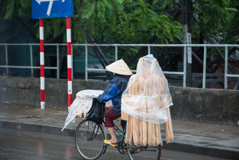 A woman carries fresh bread on her bicycle in the rain in Hanoi (somewhere between Phù Đổng and Hồ Hoàn Kiếm - my GPS stopped before the shot).