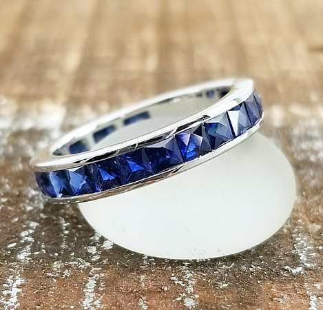 French Cut Sapphire Eternity Band